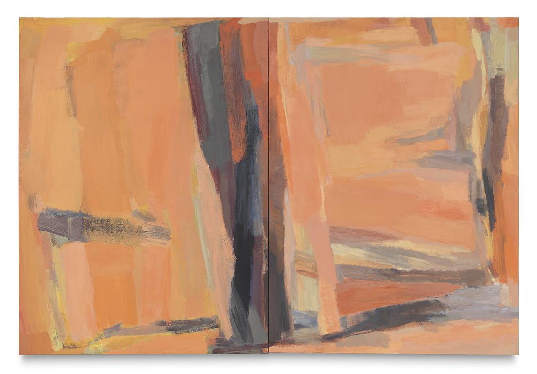 """orangene Suite IV"", 2016, Eitempera auf Leinwand, 2-teilig, 200 x 300 cm"
